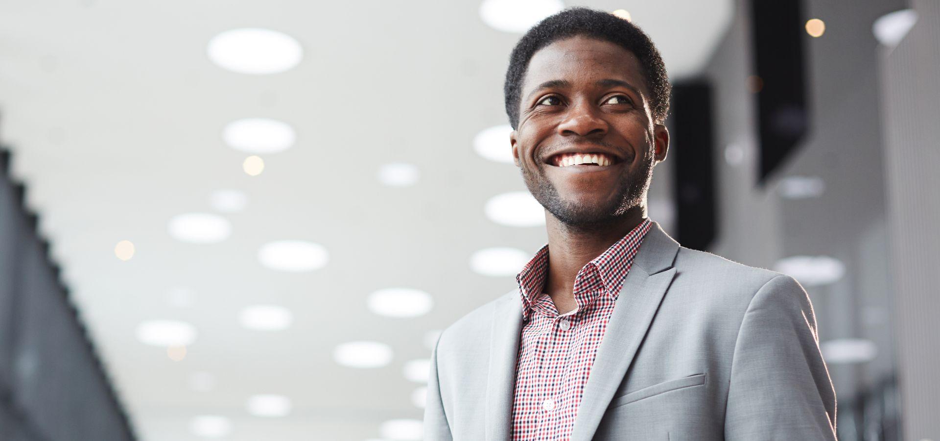 Corporate black man smiling